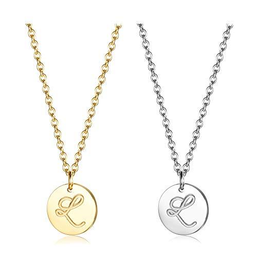 Finrezio Zwei Edelstahl Halskette mit Buchstaben Runder Initial-Anhänger Silberton und vergoldet 18K Buchstabenhalskette für Damen Buchstabe L