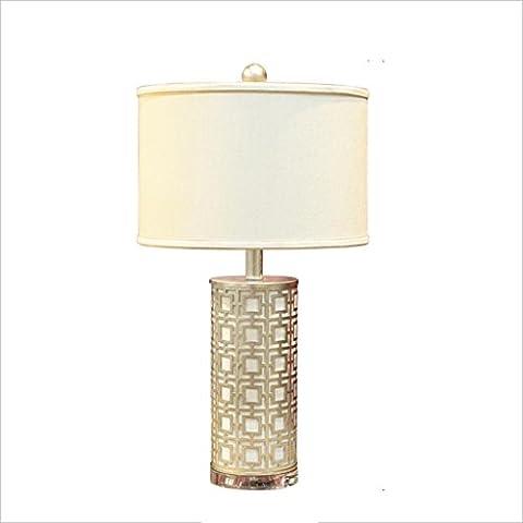 QIN PING GUO Salon Américain Simple Et Élégant Lampe De Table En Fer Lampe De Chevet Lampe De Luxe En Cristal E27 * 1 ( Couleur : Silver