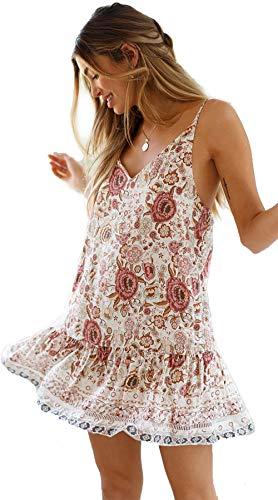 Ärmellos Rüschen V-ausschnitt Kleid (Damen Sommer V-Ausschnitt ärmellose Minikleider Strap Boho Floral Backless Beach Holiday Party Sommerkleid Beige XL)