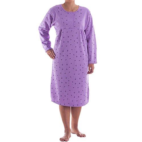 Lucky Langarm Thermo Nachthemd mit Druck, Größe:L;Farbe:Flieder - Nachthemd Langarm Thermo