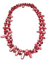37a40051363a BRANDELIA Collares Largos de Colores Mujer Bisutería de Nácar y Perlas de  Cristal