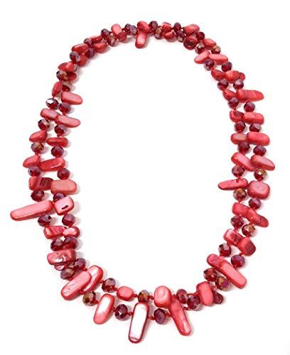 BRANDELIA Farbige Lange Halsketten Damen Perlmutt Modeschmuck und Glasperlen, Verschiedene Modelle rot