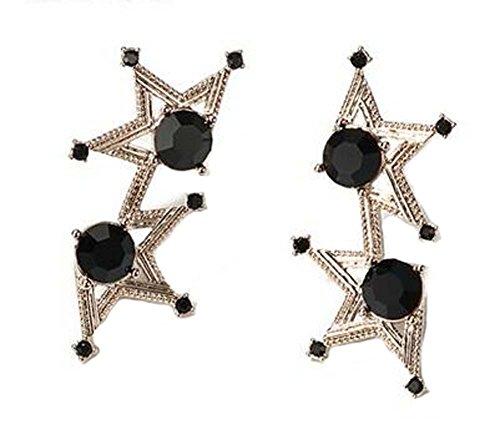 Boucles d'oreille vintage style Dangler de tempérament en étoile de style européen, noir