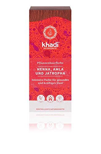 khadi Pflanzenhaarfarbe Henna, Amla & Jatropha 100g I Haarfarbe Hellrot bis Dunkelrot I Naturhaarfarbe 100{1fd51cc7e87718316f0c1aacd92d8c382a518cfb7defc68808205366c86e00ef} natürlich