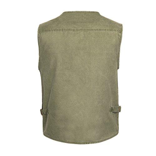 Belloo Herren Outdoor Sport Weste mit 16 Taschen, in Farbe Grün, Khaki und Grau Grün