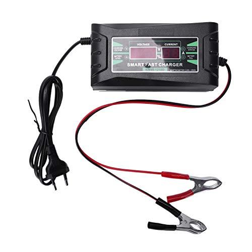 SODIAL Spina Europea Completa Auto Automatico Caricabatteria 110V / 220V - 10A Smart Power Velocemente Il Carico per Wet Dry Lead Acid Display Digitale A Cristalli Liqu