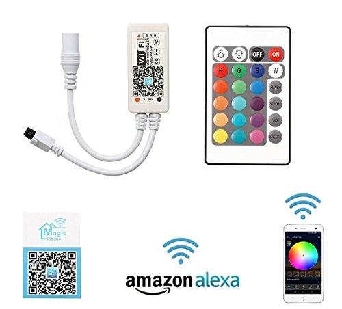 Preisvergleich Produktbild Cooligg LED Wifi Controller (Komplette Set) kompatibel mit Alexa Echo/Dot / Google Home und Android/IOS App, IR RF Remote Wlan Kontroller vom DE Händler 5V-28V für 3528 5050 2835 led RGB Streifen