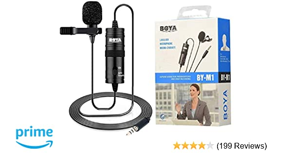 BOYA BY-M1 3 5 mm Lavalier Microphone for Smartphone and Canon/Nikon Camera  - Black