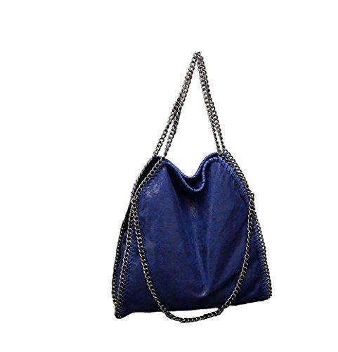 Leder Tasche Tragetasche (Angleliu Damen PU lässigen Kette Handtasche Modisch Schultertaschen Glitzer Beuteltasche (Blau))