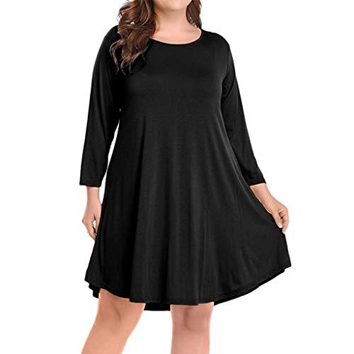 Sasstaids Sommer heißes Kleid,Womens Large Size Long Sleeve Solides Locker und elegant Knielanges Kleid Partykleid Elegantes Kleid