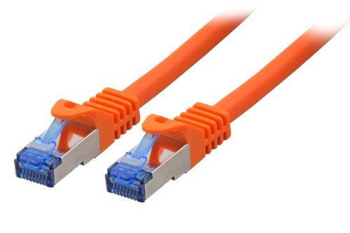 BIGtec 3m CAT.7 Patchkabel Netzwerkkabel Gigabit Patch DSL LAN Ethernet Kabel orange Kupferkabel doppelt geschirmt ( RJ45 Stecker Cat-7 S/FTP PIMF )