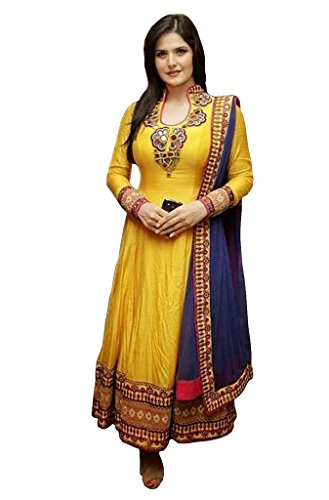 Sanjana Design Women\'s Cotton Semi Stitched Anarkali Dress Material ( KS7074_Free Size_Yellow)