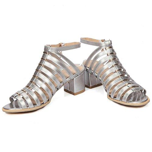 COOLCEPT Femme Rome Creux Sangle Sandales Talon Bloc Peep Toe Chaussures Argent