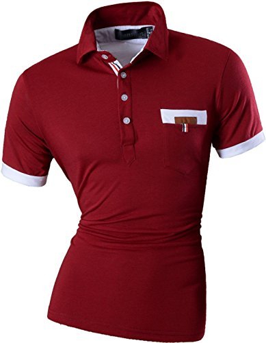 jeansian Herren Freizeit Slim Fit Short Sleeves Casual POLO T-Shirts D403 U012_WineRed