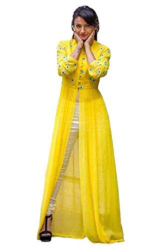 PAVAN FASHION WORLD Women\'s Georgette Unstitched Anarkali Kurti With Bottom(Yellow)