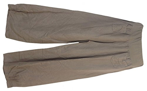 Womens Linen Trousers with elastic waistband, 2 patch pockets at the front, Size S-3XL. Made in Italy