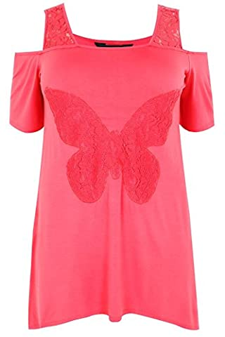 Womens Hot Bardot Jersey Top With Lace Butterfly Panel & Lace Straps Plus Size 1 Size 22-24 Pink