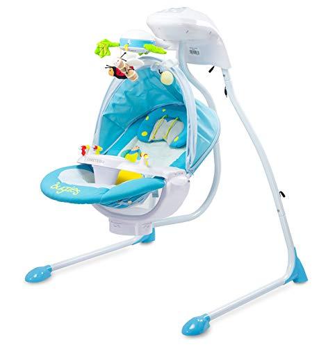 CARETERO Bugies Babyschaukel Babywippe Schaukelwippe drehbarer Sitz Timer elektronisches Mobile mit Lichern, Farbe: Blue