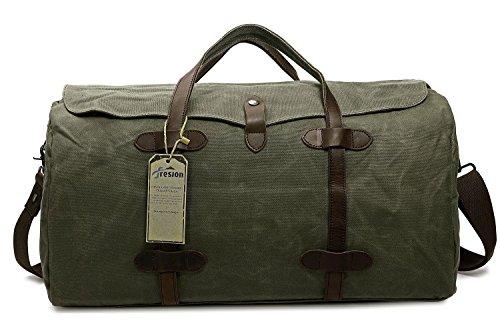 Reisetasche Weekender Tasche, Unisex Leder Handgepäck Sporttasche Vintage Segeltuch Haltbarer Umhängetasche für Kurze Reise am Wochenend Urlaub (Armeegrün) (Leder-weekender-tasche)