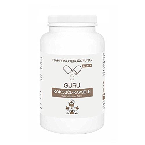 Guru Kokosöl Kapseln - 100% pflanzlich, Nativ, 1 Kaltpressung, vegan...