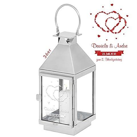 Laterne mit Herzgravur - Personalisierung mit Namen, Datum & Text - Liebesgeschenk für Paare (Silber 36x13x13cm, Design 1)