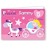 Children's Personalised Birthday Card Princess Pink