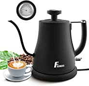 Electric Water Kettle with Thermometer, Eid Ramadan Gift,Gooseneck Boiler Coffee Brewing Heater,Rapid Boil Han