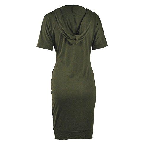 La Cabina Femme Sexy Mini Robe T-Shirt Col en V+ Manches Longue pour Soirée Cocktail Vie Quotidienne Vert