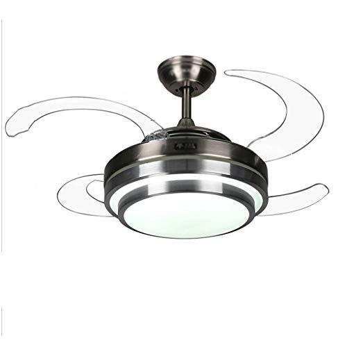 Ventilatore da Soffitto con luce Ventilatore a soffitto Light Chandelier Home Minimalista LED Soggiorno Fan Fan Light Mute Camera da Letto Positivo e Negativo 39 Pollici 24W