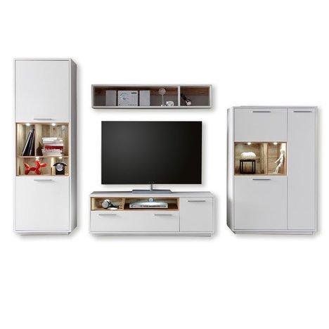 ROLLER Wohnwand MILANO – weiß-Wildeiche – mit Beleuchtung - 2
