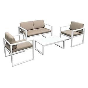 Salon de Jardin Ibiza en Tissu Taupe 4 Places - Aluminum Blanc ...