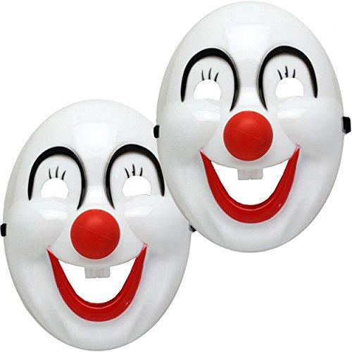 2x Halloween Fasching Karneval Maske gruselig - Clown Horrormaske mit Gummiband - Gesichtsmaske für mutige Mädchen und Jungs (2x, Clown Maske Weiss)