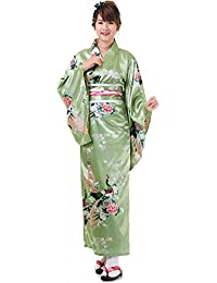 Princess of Asia Japanischer Geisha Satin Kimono Kujaku S M 36 38 40 42