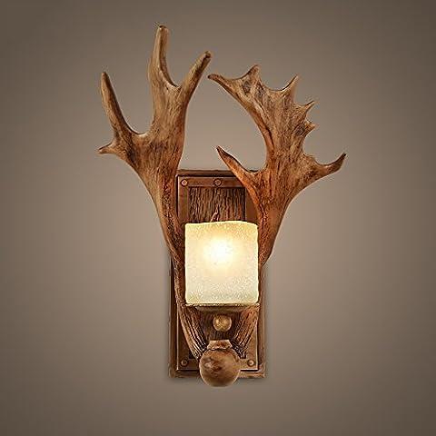 Einzel- / Doppelkopf Retro-Buckhorn-Wandleuchte Resin-Lampenkörper Glas-Schirm Amerikanisches Hirtenhorn Aisle-Schlafzimmer Nachttischlampe
