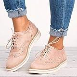 Chaussures à lacets appartements pour femme, cuir synthétique Slip on Comfort Bureau Chaussures à talon bas, rose