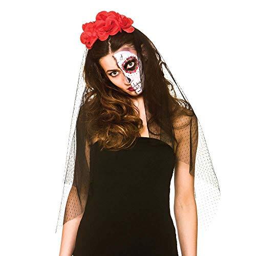Il giorno delle donne dei morti velo con fiori halloween accessori