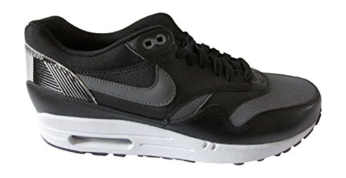 Nike Herren Air Max 1 Print Laufschuhe, Schwarz/Grau/Weiß (Schwarz/Dunkelgrau-Wolf Grau), 41 EU (Weiß 2014 Max Herren Nike Air)