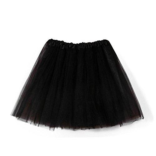 (Damen Tutu Rock Tüllrock Kurz Rockabilly Kleid Petticoat Kleider Fasching Elegant (One Size, Schwarz))