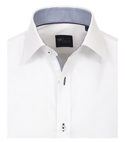 Venti Slim Fit Hemd Langarm mit Blauen Besätzen Struktur Weiß Weiß