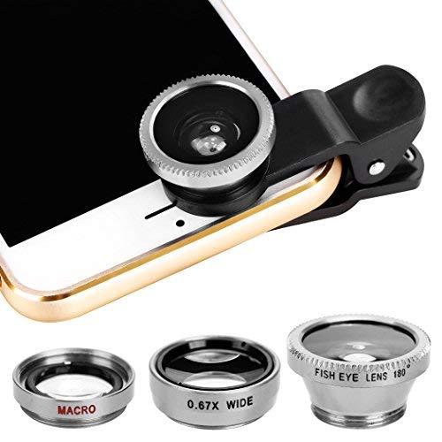 Xinnio Universal-3-in-1 Kamera-Objektiv, 0,67 x Weitwinkelobjektiv + 180 ° Fischaugenobjektiv, Makro-Kamera-Objektiv, Clip-On für iPhone XR/XS/XS MAX/X/ 8 7 6 Plus, Samsung Smartphones, M, Silber Acc-wireless-kit