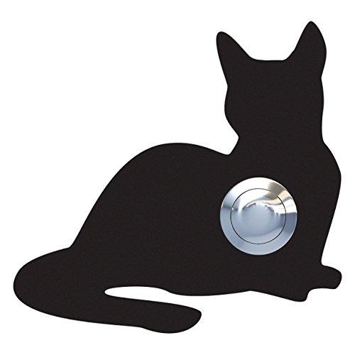 Klingeltaster, Design Klingel, Türklingel Edelstahl pulverbeschichtet Katze,Kitty\'\' schwarz - Bravios
