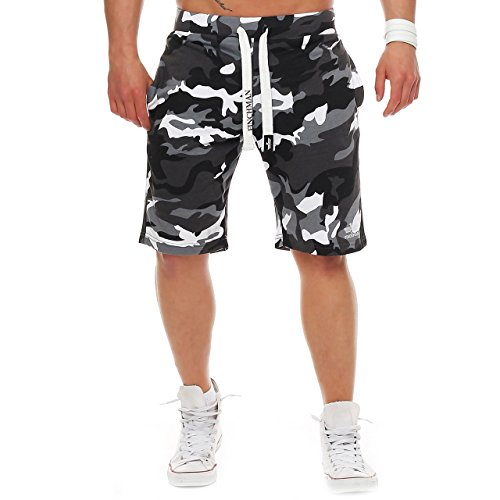 Finchman Herren Cotton Sweat Short Kurze Hose Bermuda Sweatpant (M, Camo Grau) (Camo Training Hosen)