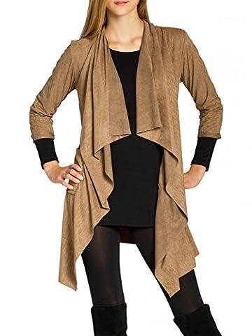 CASPAR STJ015 Women Faux Suede Cardigan, Colour:camel;Size:L/XL