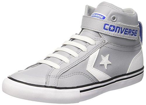 Converse Unisex-Kinder PRO Blaze Strap HI Hohe Sneaker, Grau (Wolf Grey/White/Hyper Royal), 28 EU