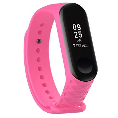 Bestow XiaoMi Mi Band 3 Patr¨®n TPU Smart Reloj de Pulsera Correa de Reloj Reloj Inteligente Electronics Gadgets Reloj de Pulsera (Rosado01)