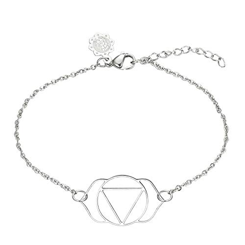 Tara Armband Ajnya-Stirnchakra Edelstahl antiallergen Yoga Yogaschmuck Chakra Hinduismus Farbe Silber
