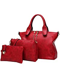 Di Grazia Women's 3 In 1 Combo Of Handbag Satchel, Sling Bag & Wrist Pouch(Red, Red-Leather-3in1-Handbag)