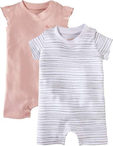 Geprüft Schlafanzug (lupilu® 2 Mädchen Baby-Schlafanzüge, kurz (weiß grau gestreift/rosa 'Plants Are Friends', Gr. 50))