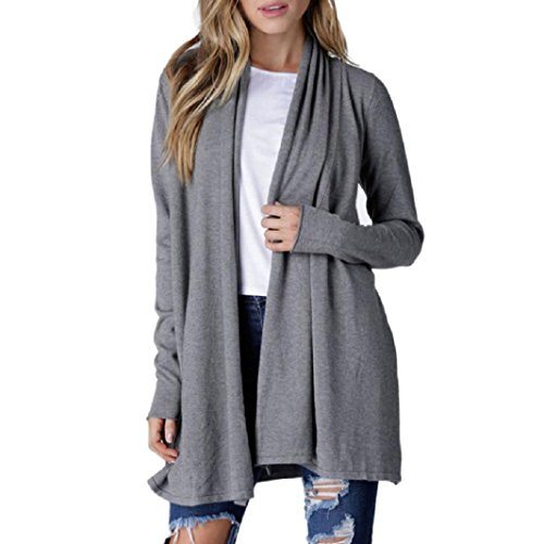 Longra Damen Langarmshirt Strickjacke Turn-down Kragen Sweatjacke Cardigan Frauen Lose Lang Pullover Mantel Outwear Tops Strickmantel (S, Grey) -