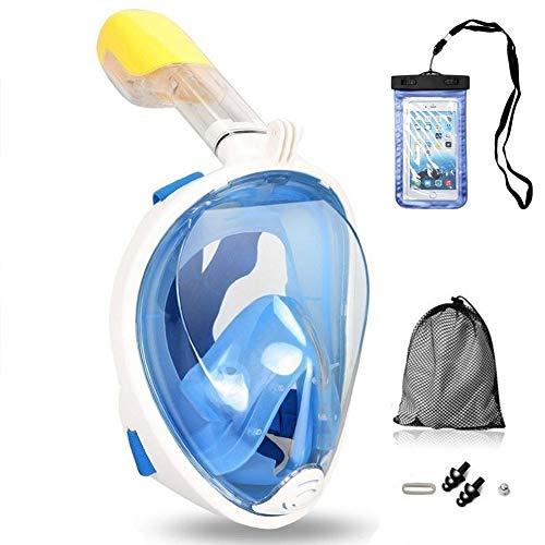 Tauchmaske Vollgesichtsmaske mit 180° Sichtfeld, Silikon Anti-Beschlag Wasserdicht für Kinder und Erwachsene Anti-Fog Anti-Leak, Schnorchelmaske Vollmaske mit Ohrdruckausgleich Funktion(S/M, Blau)